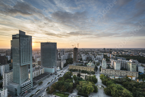 Modern buildings in Warsaw during sundown|44382253