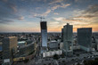 Panoramic view of Warsaw city during sundown.