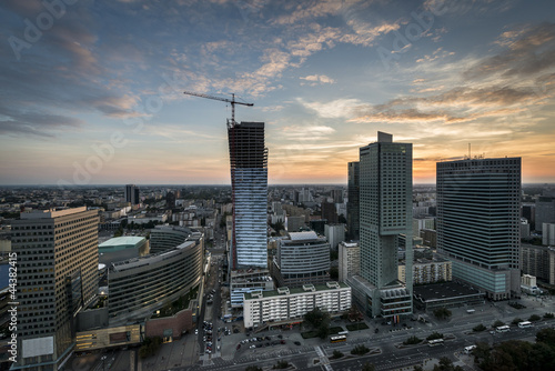 Panoramic view of Warsaw city during sundown.|44382415