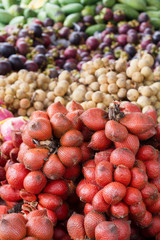Salacca and lot of Thai fruit background
