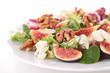 mixed salad with lettuce,fig,cheese and walnut