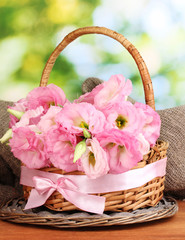 bouquet of eustoma flowers in basket,