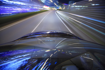 Speed drive on car at night motion blurred