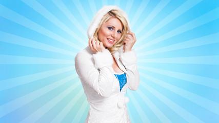 junge blonde Frau im Winteroutfit vor Retro-Hintergrund