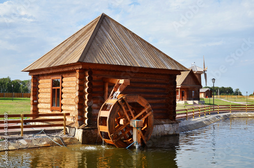 working water mill in russian village
