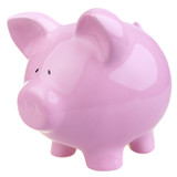 Pink piggy bank on white background.