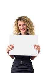 Business woman with blank poster