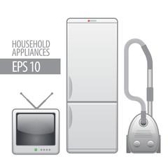 household appliances. vector icon set