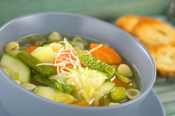 Bowl of homemade vegetarian Italian minestrone soup