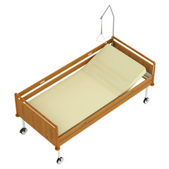 Wooden mobile hospital bed