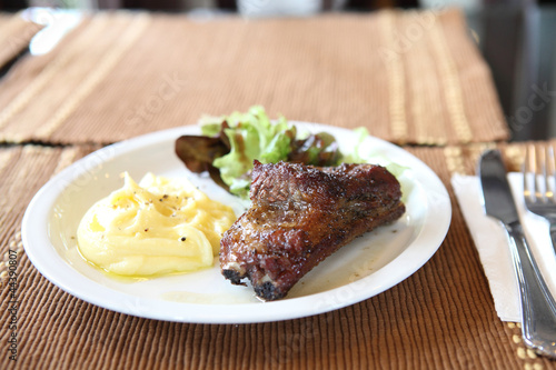 smoked rib with potato