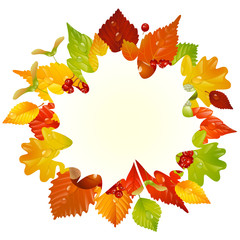 Vector autumn frame with fall leaf 3