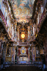 Interior of the rococo Asam Church in Munich, Germany