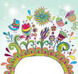 Doodle color frame with birds and flowers for your design
