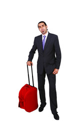 Business traveler with rollaway bag in full length