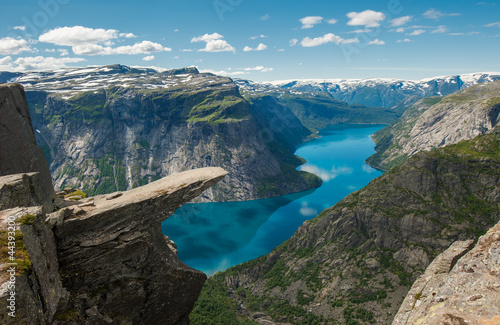 Leinwanddruck Bild Trolltunga, Troll's tongue rock, Norway
