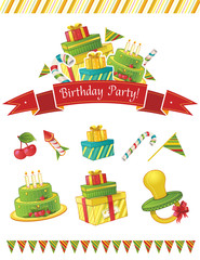 Birthday party vector elements