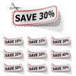 Discount vector labels with red frame