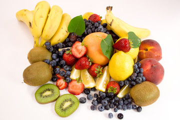 Fresh fruit on white