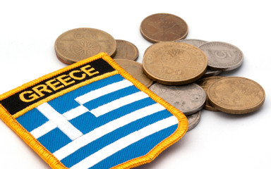 greek flag and coins