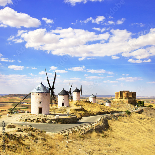 Windmills and castle of Consuegra. Spain