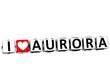 3D I Love Aurora Button Click Here Block Text