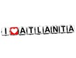 3D I Love Atlanta Button Click Here Block Text