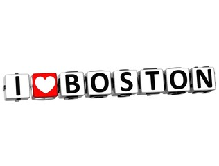 3D I Love Boston Button Click Here Block Text