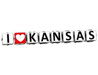 3D I Love Kansas Button Click Here Block Text