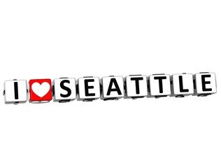 3D I Love Seattle Button Click Here Block Text