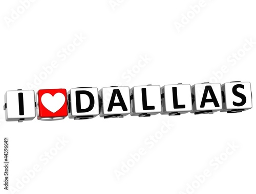 3D I Love Dallas Button Click Here Block Text