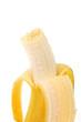 Banane geschält und angebissen / freigestellt