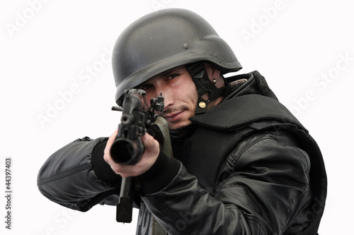 SWAT police officer in action