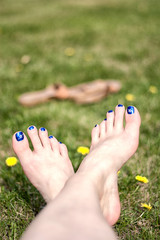 Painted Toes in the Grass