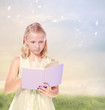 Little Blond Girl Reading a Book