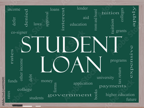 Student Loan Word Cloud Concept on a Blackboard