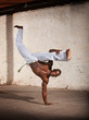 Agile African Martial Artist Kicking