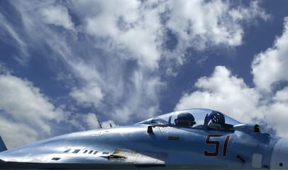 detail of Empty Cockpit military Jet