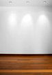 Empty white wall with 3 spot lights and wooden floor