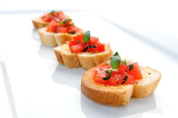 Bruschetta on a platter plate