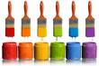 Paintbrushes Dripping into Paint Containers - 44400822