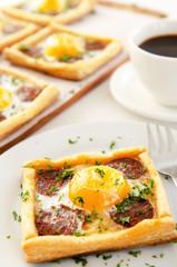 Breakfast egg chorizo pastry with coffee