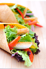 Duo chicken burrito wraps with fresh vegetables