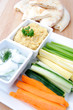 Healthy superbowl snacks vegetable sticks and dips