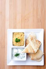 Healthy vegetarian starter platter
