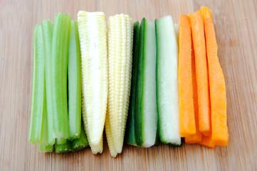 Raw vegetable sticks, carrot cucumber corn celery