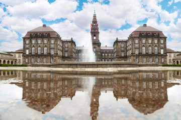Christiansborg Palace with fountain at summer day in Copenhagen