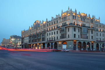 Hotel Metropol at evening in Moscow, Russia.