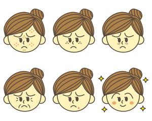 茶髪の女性 肌トラブル