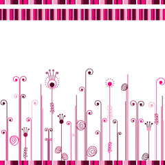 Abstract white background with pink lines and curls